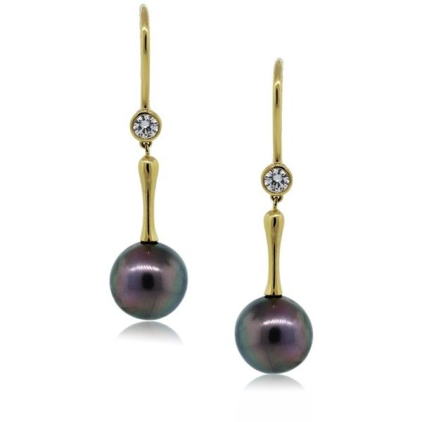 Tiffany Co Tahitian Pearl And Diamond Drop Dangle Earrings