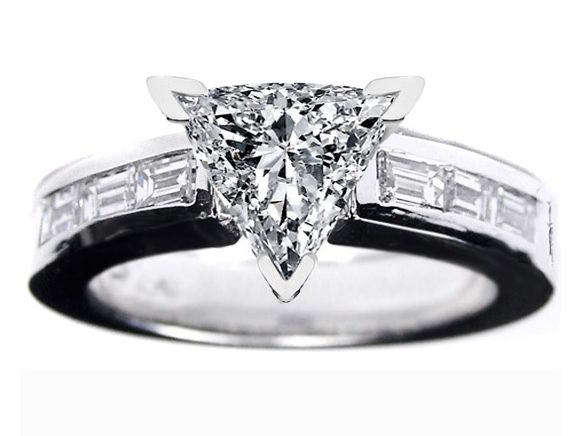 trillion cut diamond engagement ring with baguette accent. Black Bedroom Furniture Sets. Home Design Ideas