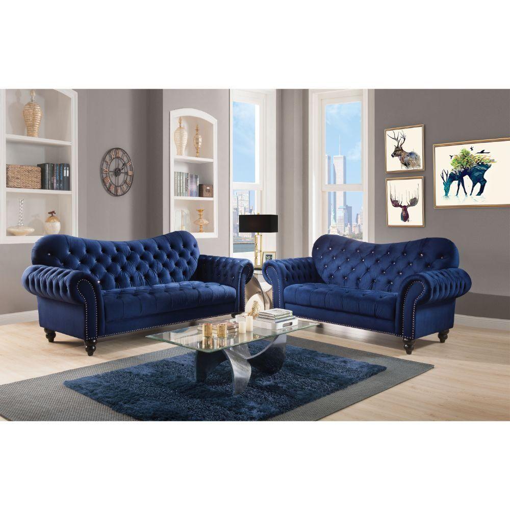 Iberis Navy Sofa 53405 82770 82772 Acme Corporation Fabric Sofas Velvet Living Room Blue Living Room Living Room Sets