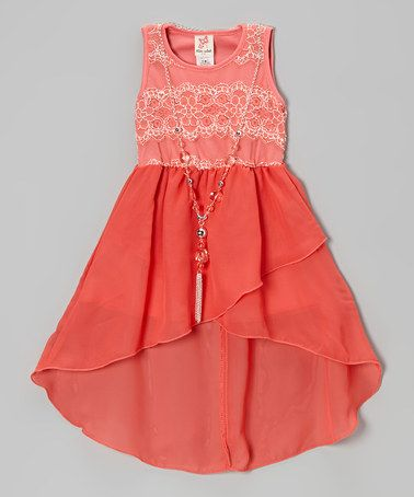 f66efc47f0 Another great find on  zulily! Coral Lace Hi-Low Dress   Necklace - Girls  by Kidz WinC  zulilyfinds