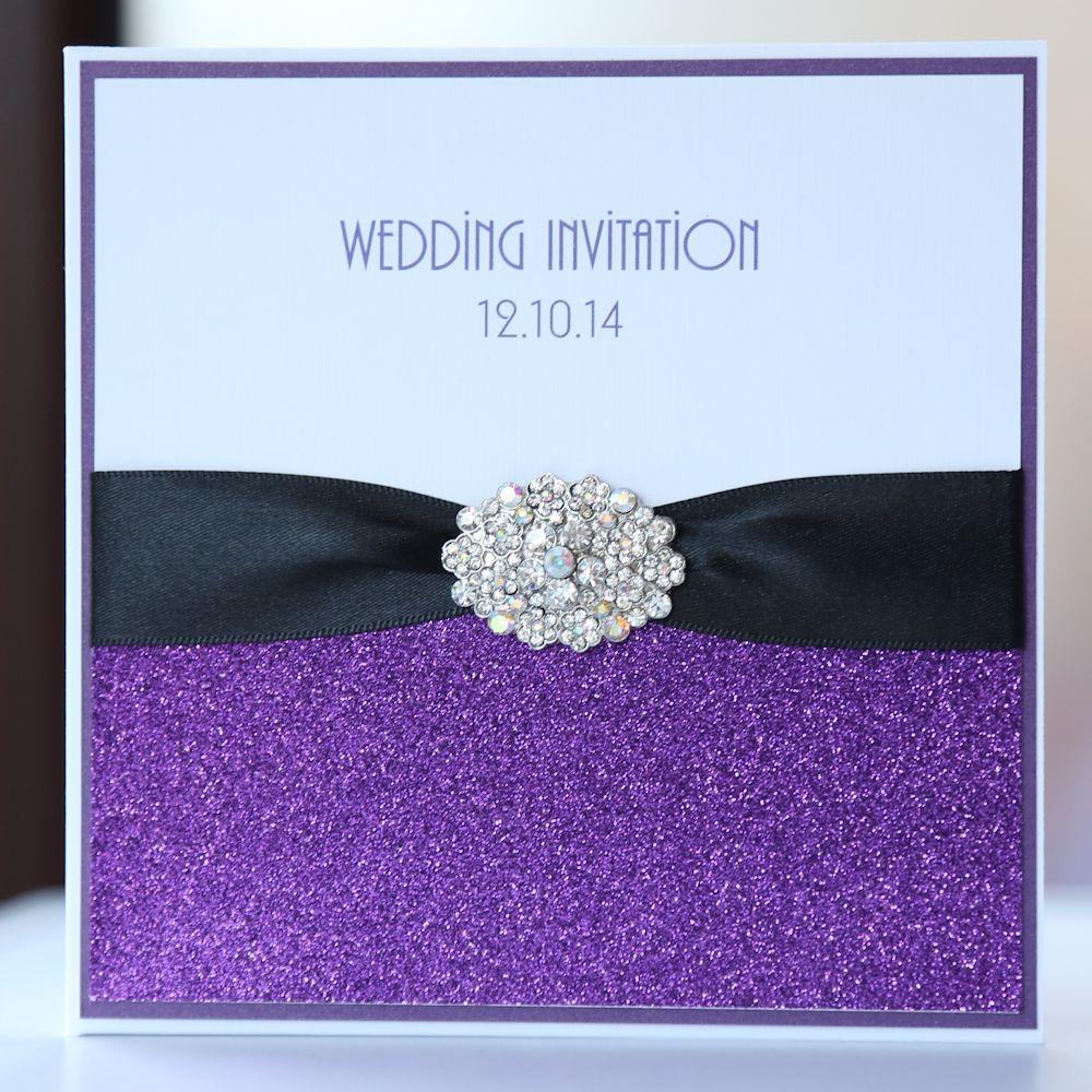 Purple Black Glitter Pocket Wedding Invitation Boxed
