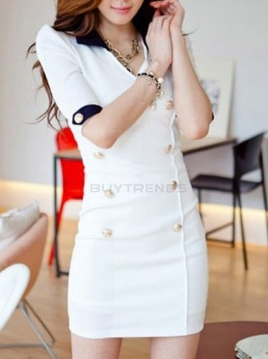 Korean Double-Breasted Hip Package Work Dress White on buytrends.com