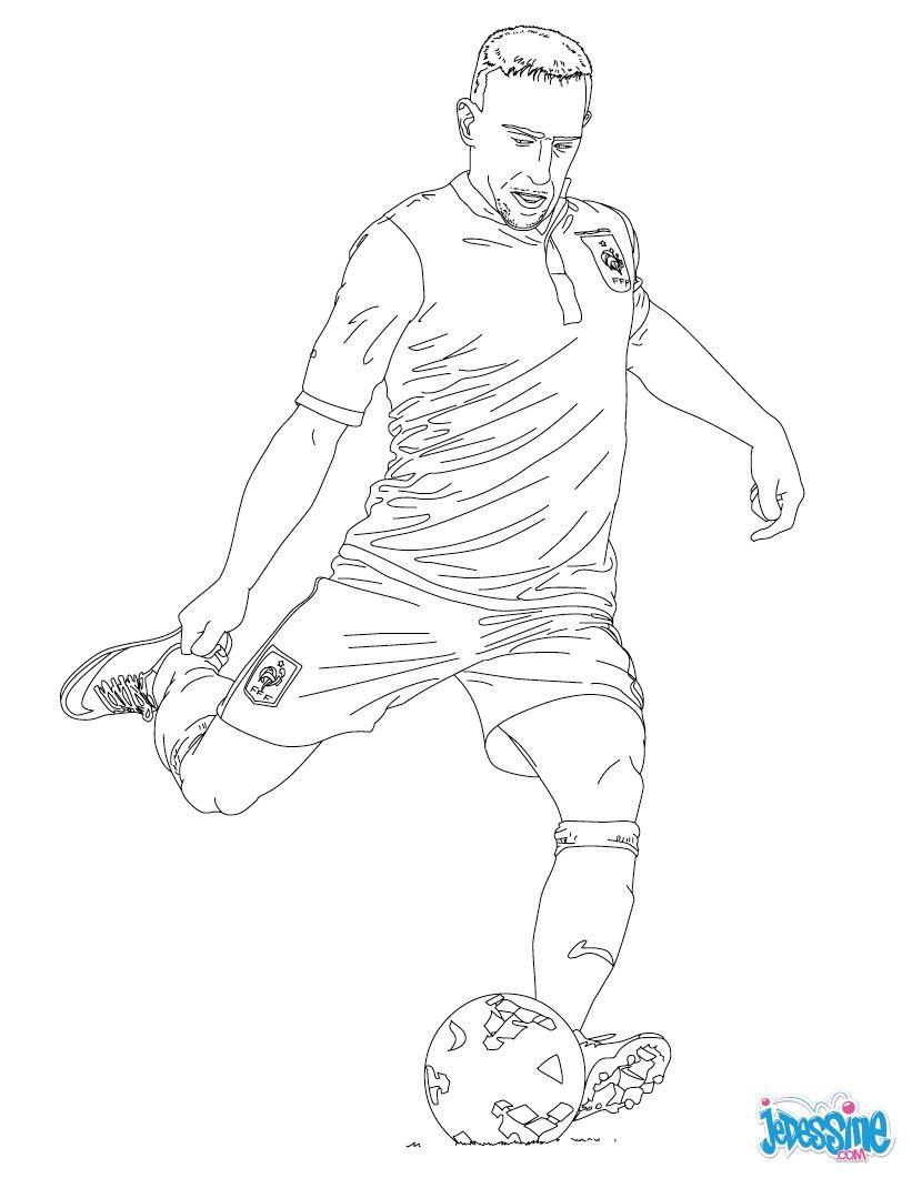 Coloriage Match De Football.Coloriage Du Joueur De Foot Francais Franck Ribery A Imprimer