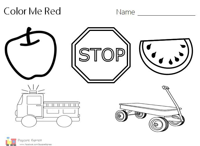 Color Red, Color Red Worksheet, Color Red Preschool, Red