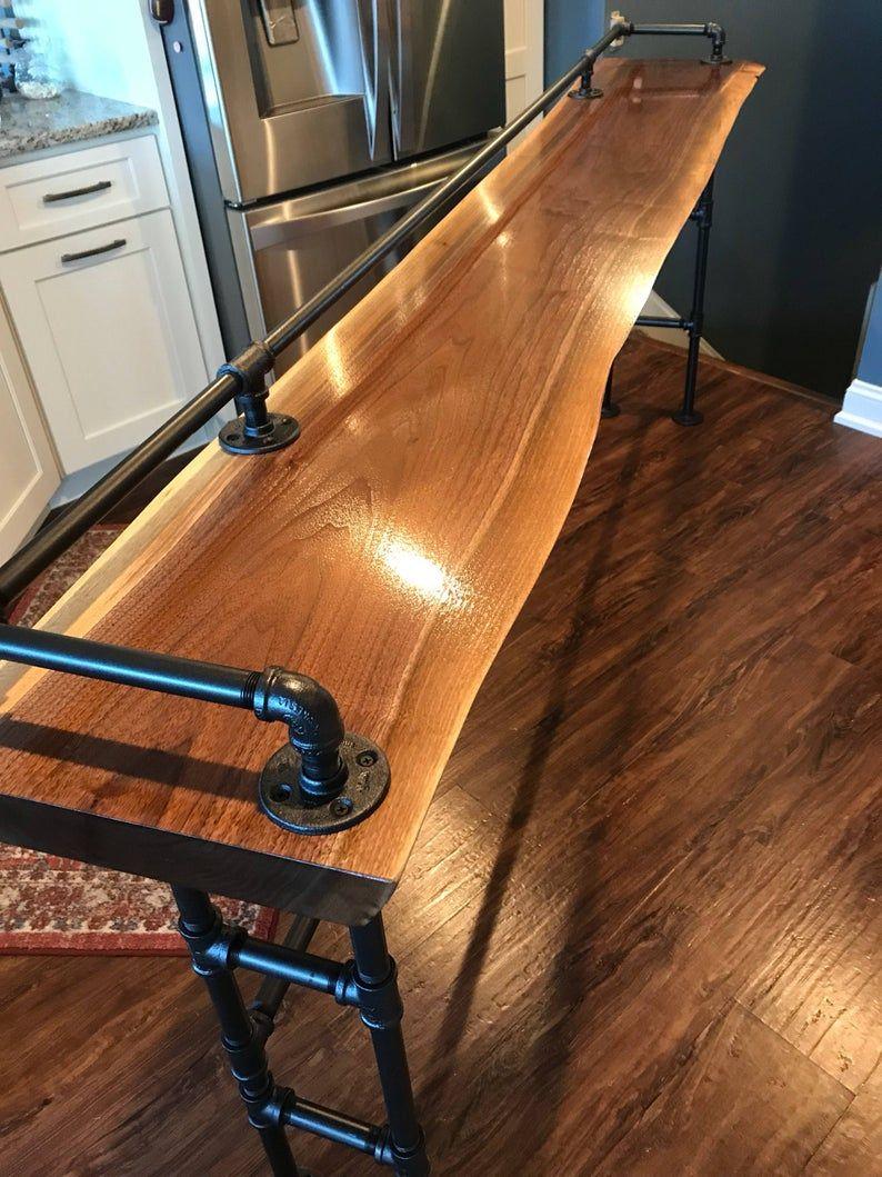 Best Live Edge Black Walnut Sofa Bar Table 7Ft Restaurant Counter Community Cafe Coffee 400 x 300