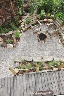 Garten Gestaltung naturnah Schotter Holz Natursteine Gemüsegarten Sträucher Stauden Rundholzsichtschutz #innenhofgestaltung