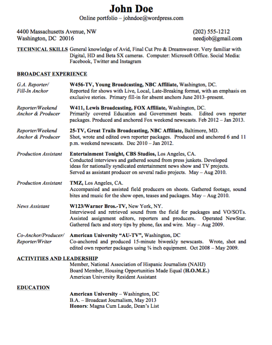 Example Of Journalism Resume  HttpExampleresumecvOrgExample