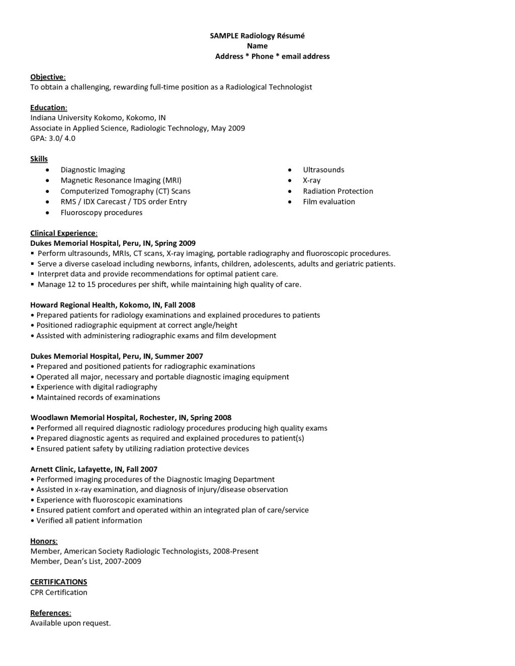 Radiology Resume Resume Sample Resume Radiologic Technology
