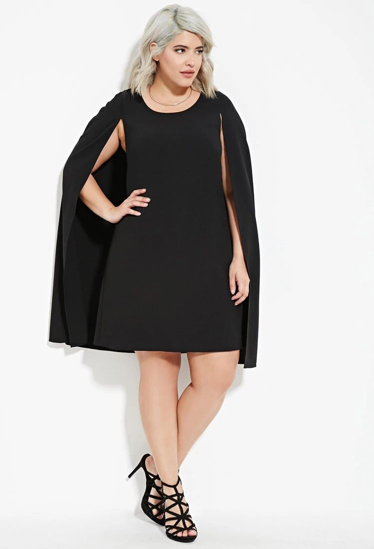 b9ad8468be1 Plus Size Layered Cape Dress
