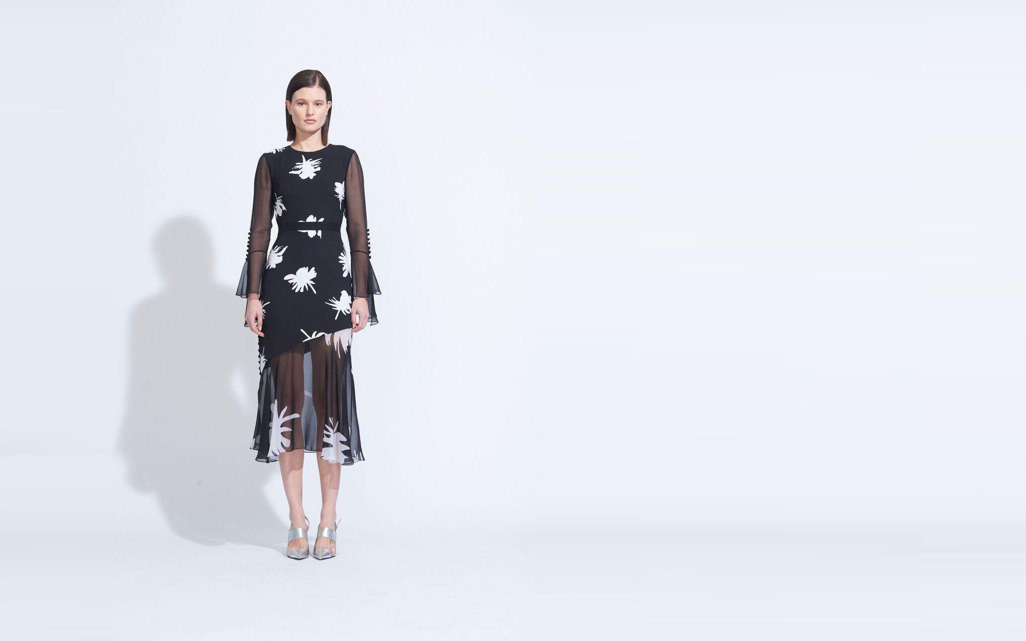 Long sleeve ruffle cuff dress black multi femme pinterest