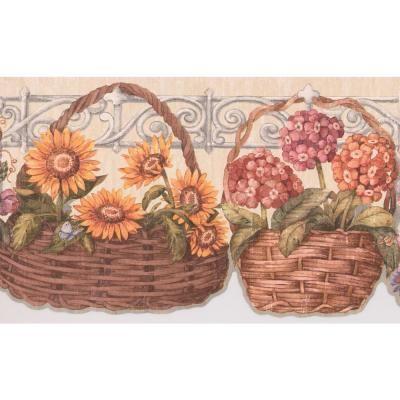 Retro Art Yellow Pink Blue Flowers in Basket White Fence Floral Prepasted Wallpaper Border, Multi #blueflowerwallpaper