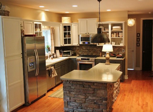 Stone island is different check out this kitchen for Different kitchen designs