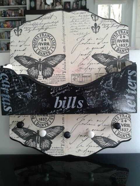 2 in 1 holder to keep bills and keys organized.  Decorated with decoupage,  stencils and stamps