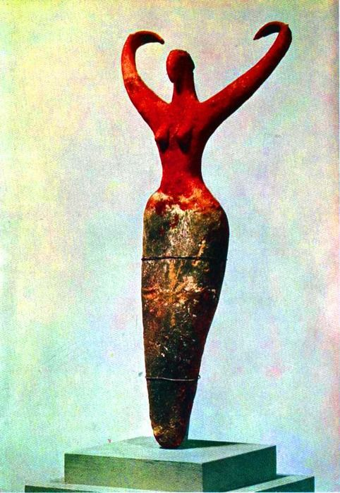 Small Female Figure of Painted Clay. Funerary gift. Prehistoric period, 4th Millennium B.C.