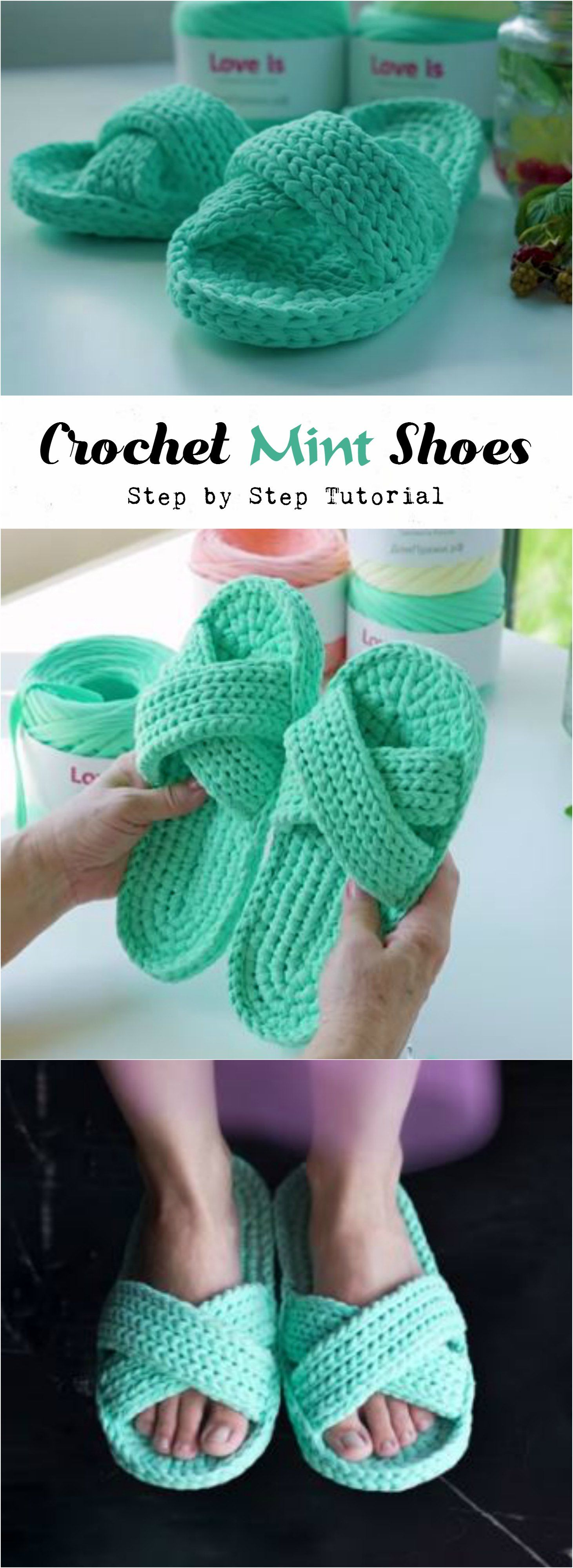 Crochet Mint Shoes | Chinelas, Color menta y Tejido