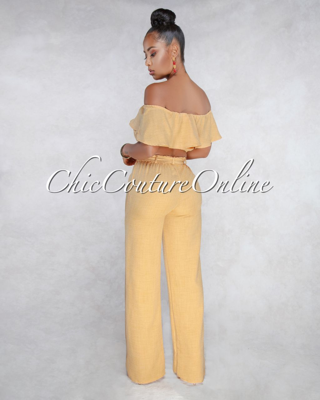 c5a678ffb5ae Chic Couture Online - Orion Mustard Yellow Crop Top Pants Two Piece Set