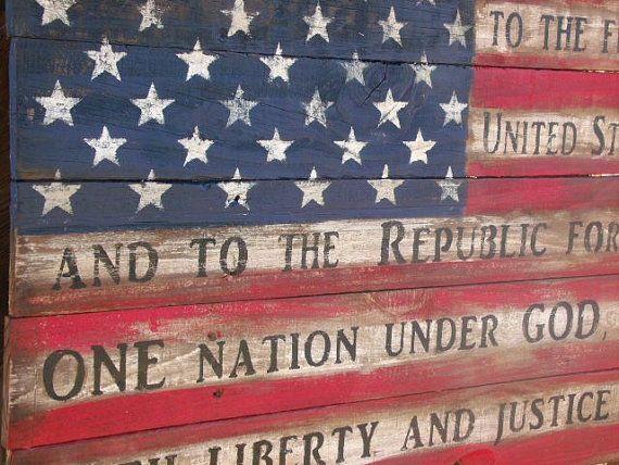 Wood American Flag Rustic Pledge Of Allegiance Barn