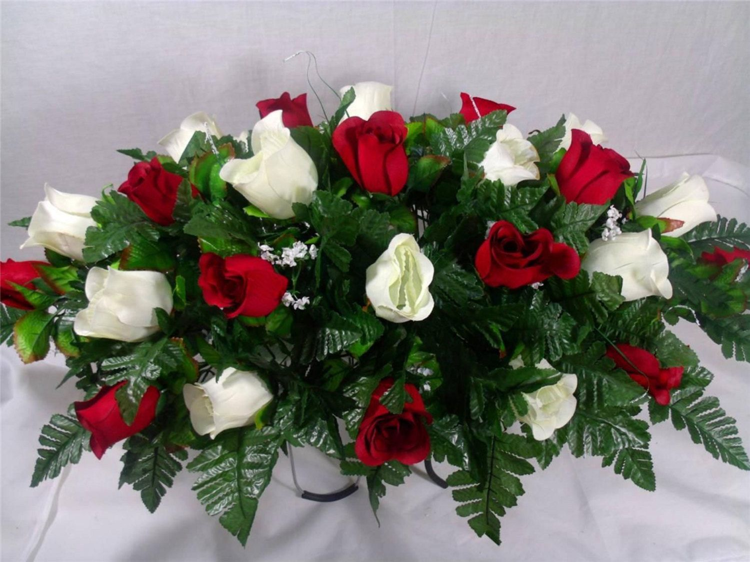 Xl red white roses silk flower cemetery tombstone saddle red white roses silk flower cemetery tombstone saddle arrangement by crazyboutdeco on etsy mightylinksfo Choice Image
