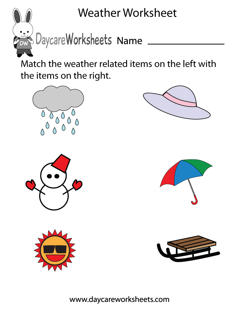 Preschoolers have to match the weather related items on the left in this free  worksheet with