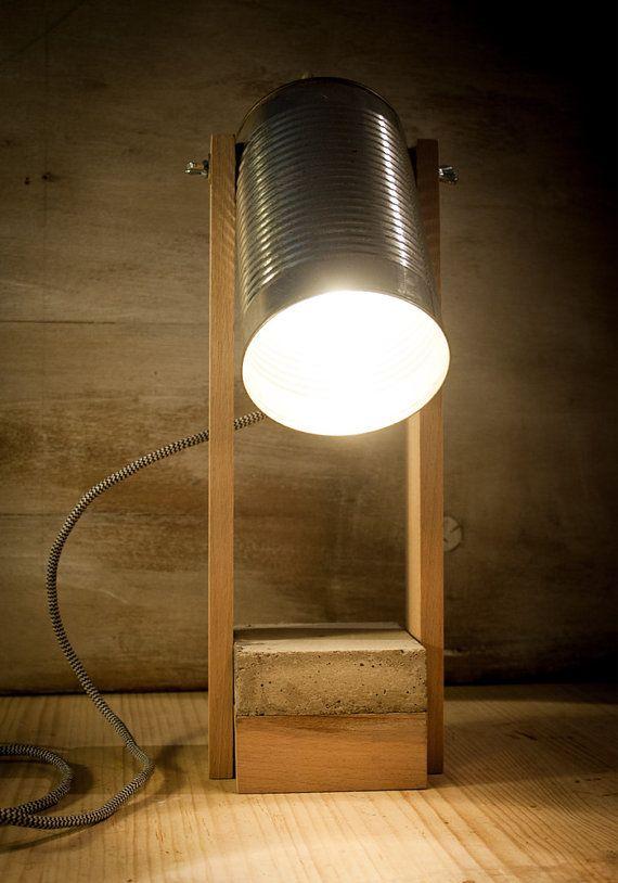 Wood concrete desk lighting Industrial design desk lamp Wood
