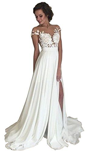 Lovelybride 2016 Lace Top Side Summer Chiffon Beach Wedding Dress Check Out
