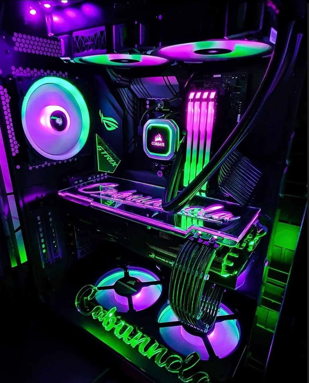 Love The Color Combo Between The Green And Purple Is This Rgb Overkill What Do You Think By Cabunnda Dark Green Aesthetic Green Pc Computer Gaming Room Pc case neon modding hd wallpaper