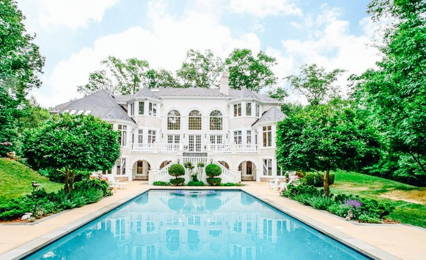 Huge Houses With Pools pretty white house! love the hugee pool | dream home | pinterest
