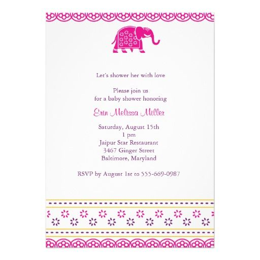 Indian Elephant Baby Shower Invitation Purple Pink Indian elephant - fresh invitation card for first birthday of baby girl