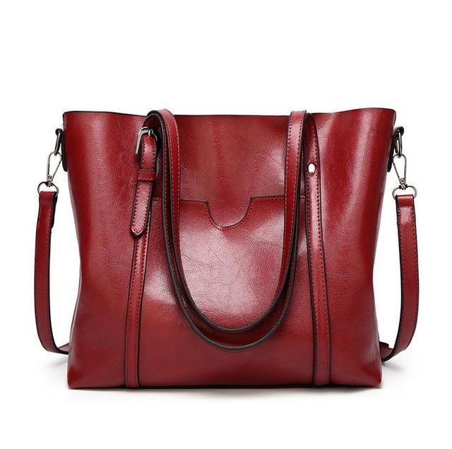 Women Vintage Retro Oil Leather Handbag Lady Crossbody Bag Tote Shoulder Purse