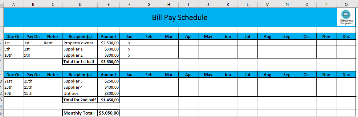 bill payment excel template