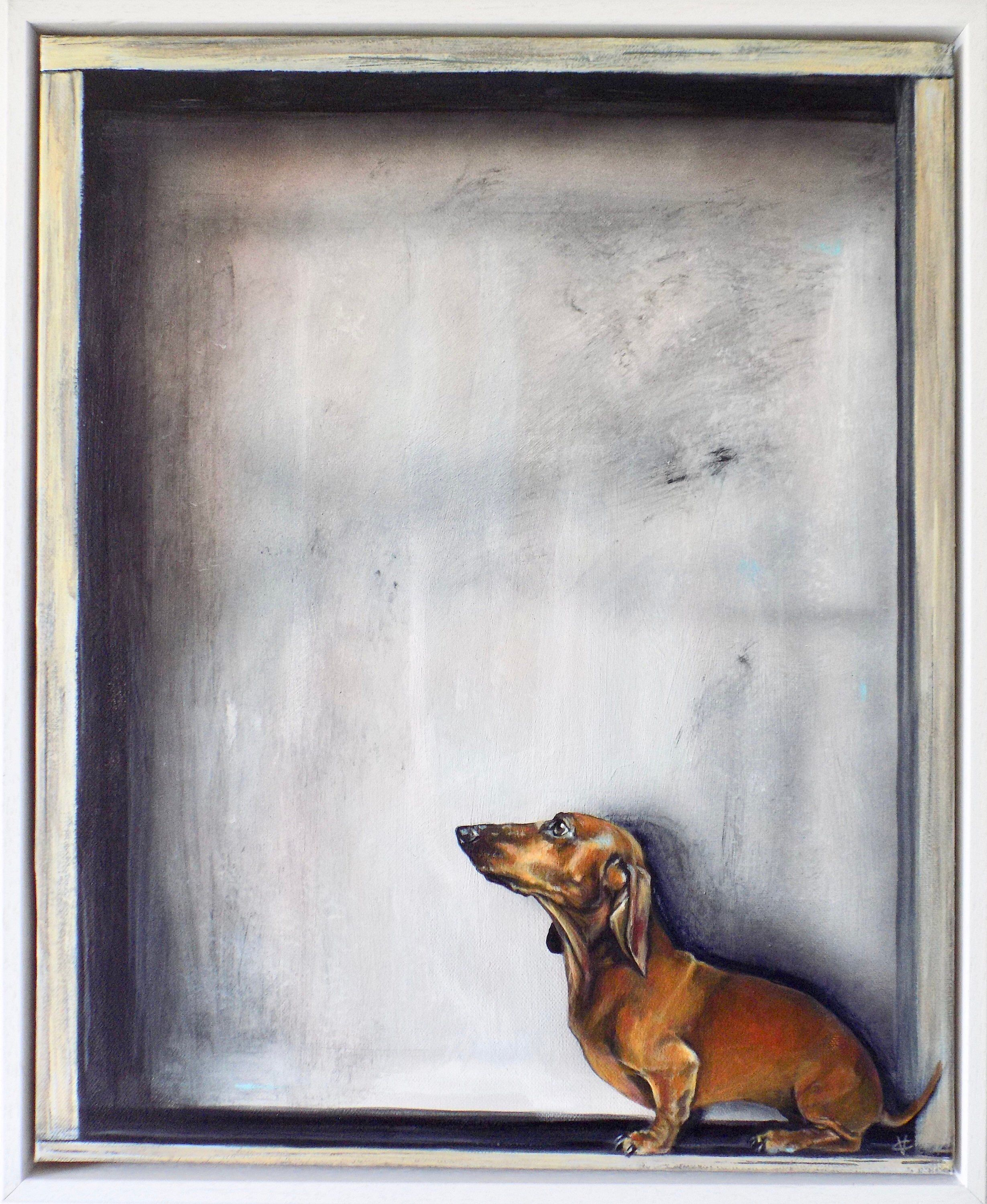 Framed Dachshund Painting On Canvas By Victoria Coleman Painting