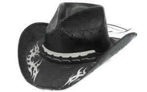 Cavenders Black Raffia Vent Pinch Front with Silver Tribal Design Straw  Cowboy Hat  35f42d47ecc0
