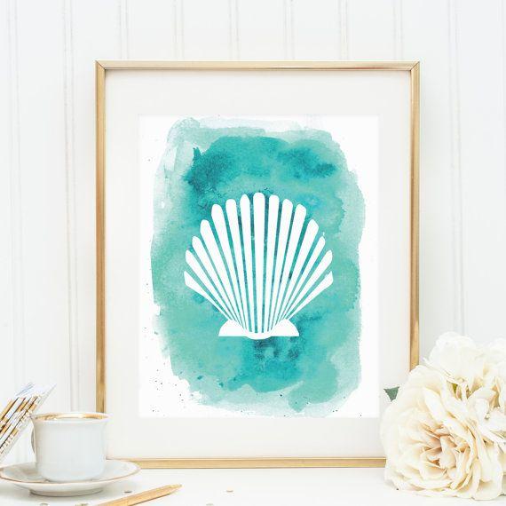 Seashell print shell art marine art print sea shell print beach wall decor printable shells coastal wall art art prints top sellers