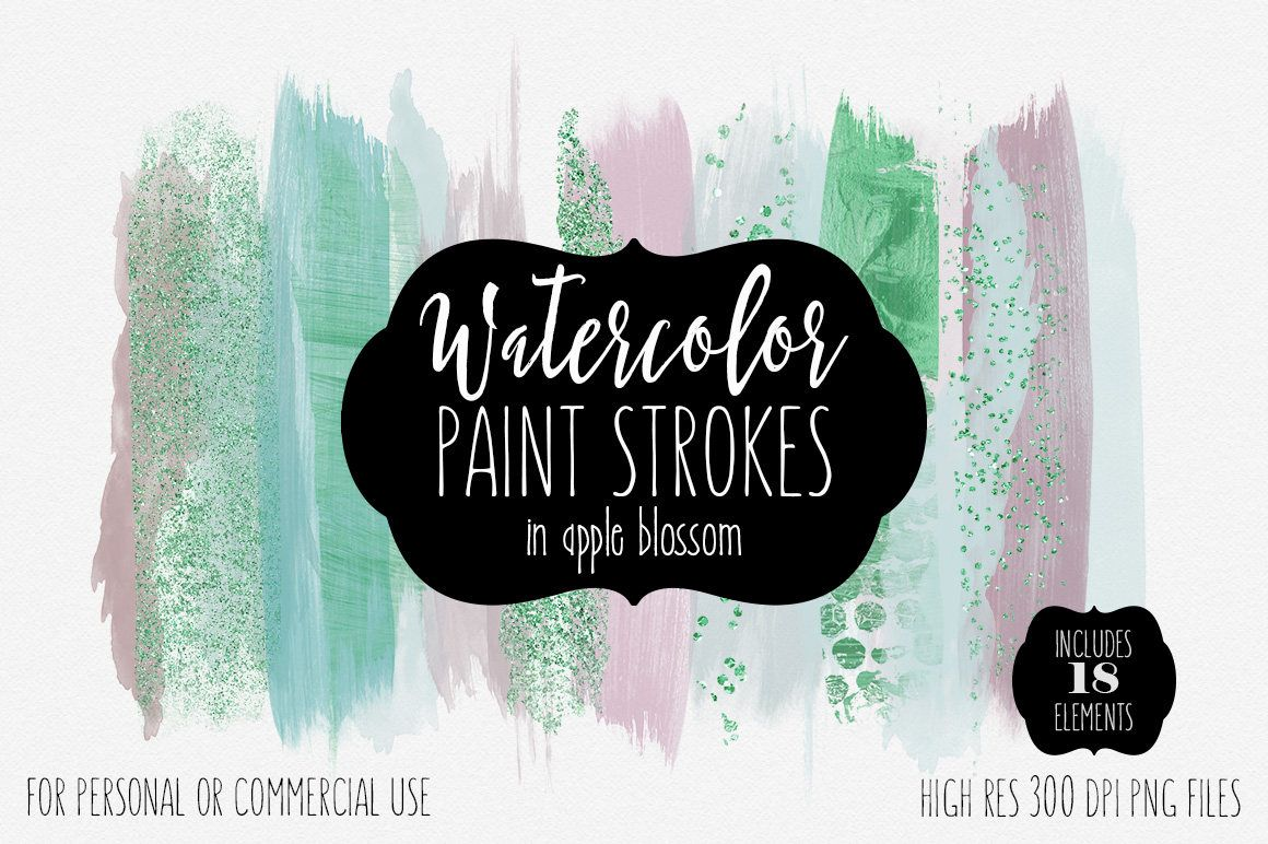 Modern Watercolor Brush Strokes Clipart Commercial Use Clip Art