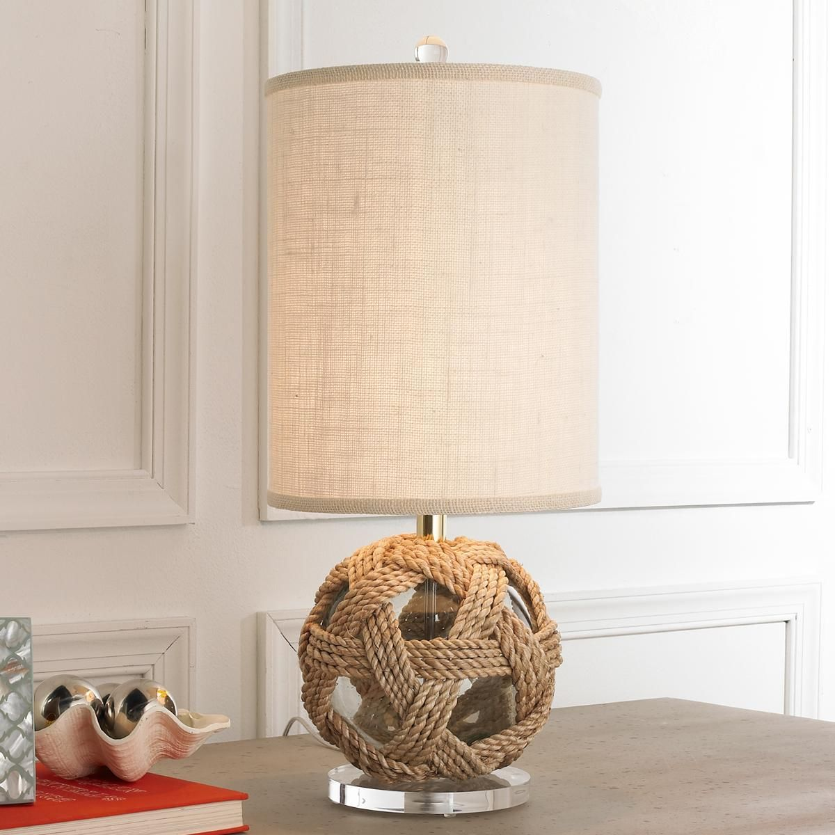 Jute Weave Glass Buoy Table Lamp A Modern Twist On A Jute Wrapped Glass Buoy  Explains