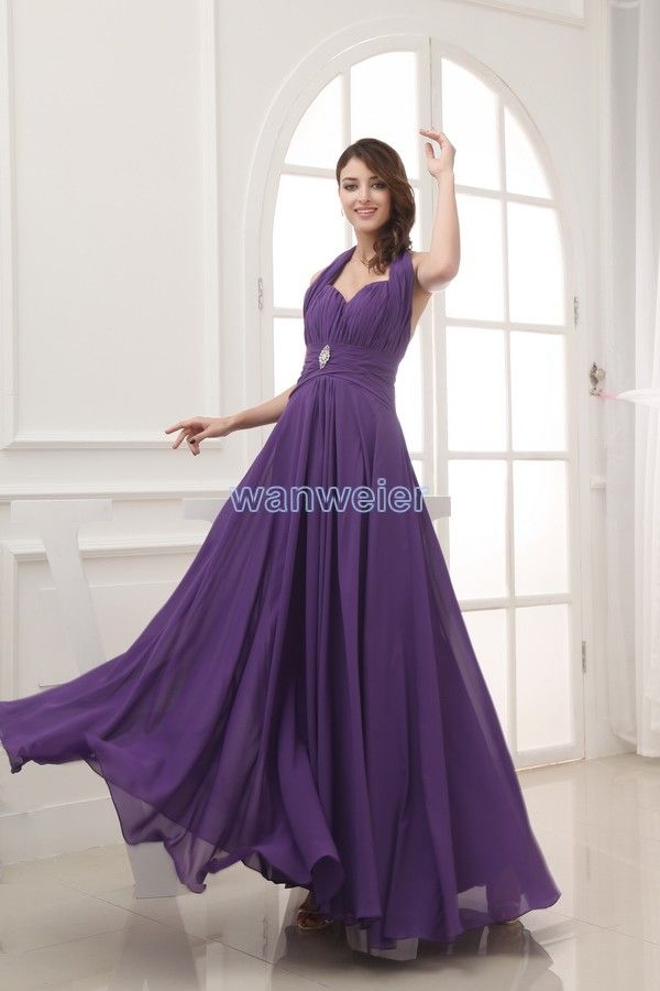 Ankle Length Plus Size Halter Grape Chiffon Evening Dress With ...