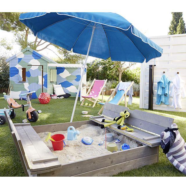 Bac à sable avec bancs rabattables en bois - CASTORAMA | Home ...