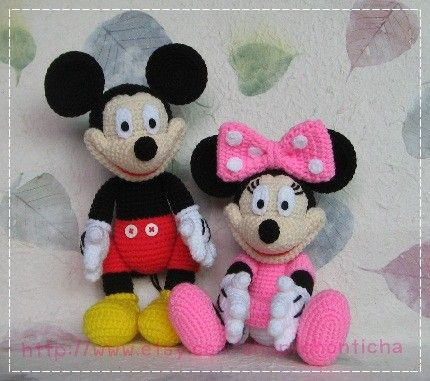 Mickey mouse and Minnie mouse 10 inches - PDF amigurumi crochet ...