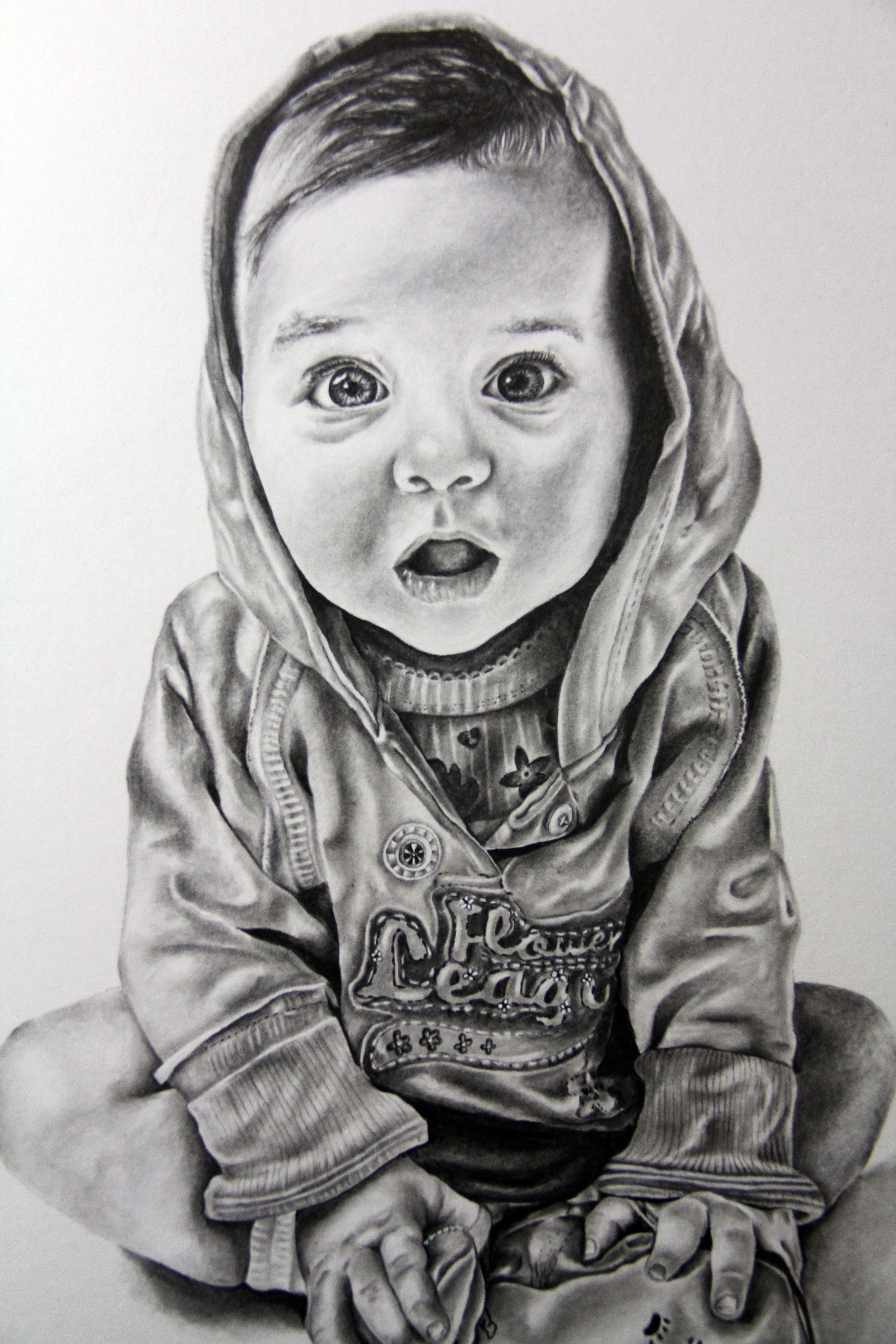 Baby child art portrait in pencil drawing by iigurrydaddyii
