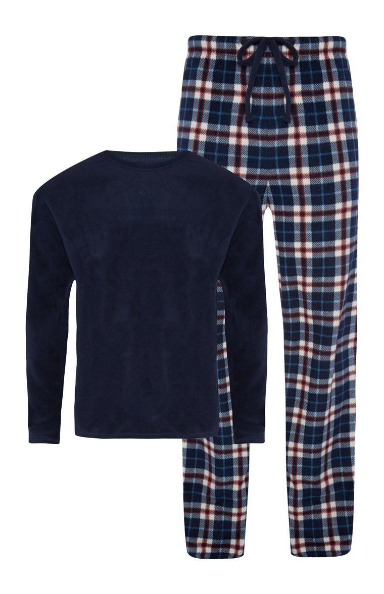 Primark - Navy Top Red Check Leg Pyjama Set  f0e8903cd
