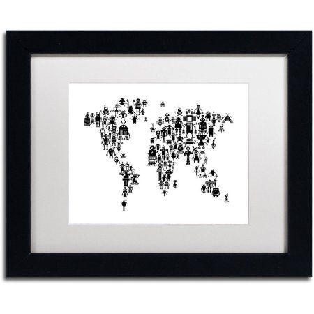 Trademark Fine Art Robot Map of the World Black Canvas Art by ...