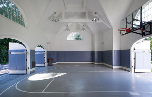 An NCAA-worthy half-court. #MarchMadness #recreationalroom #recreational #room #indoor #recreational #room