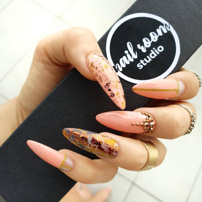 Peachy And Gold Flakes Crystals Press On Nails Custom Press Etsy In 2020 Press On Nails Long Oval Nails Nails