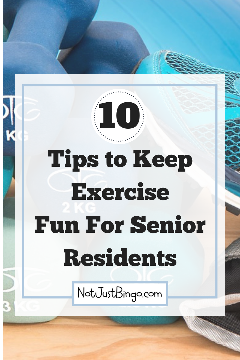 How to Keep Exercise Fun for Your Residents is part of Senior living activities, Senior fitness, Assisted living activities, Fun workouts, Bodyweight workout, Exercise - Exercise can become boring and redundant, unless you incorporate fun and exciting ideas into your exercise class  Here are a few things you can do now  Get more senior activity ideas at notjustbingo com TODAY!