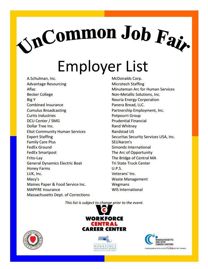JOBS Uncommon Job Fair at the Common - Employer List Community - fedex jobs