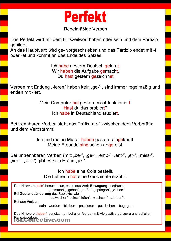 Willkommen auf Deutsch - Perfekt -Regelmäβige Verben | Verben, Auf ...