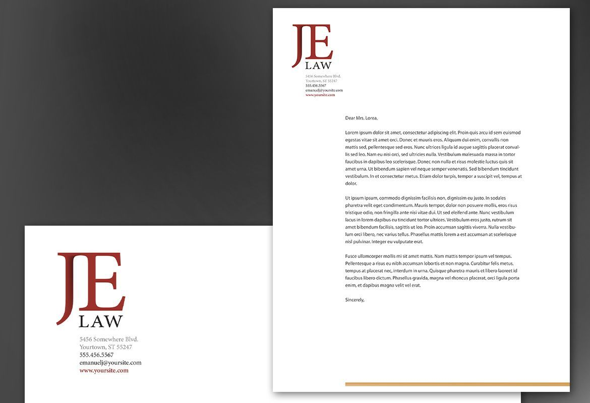 attorney law firm letterhead design layout office letterhead