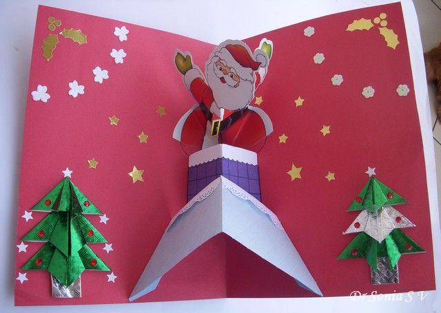 Fabulous Detailed Instructions For Pop Up Card Making Rozhdestvenskie Podelki Santa Klaus Otkrytki