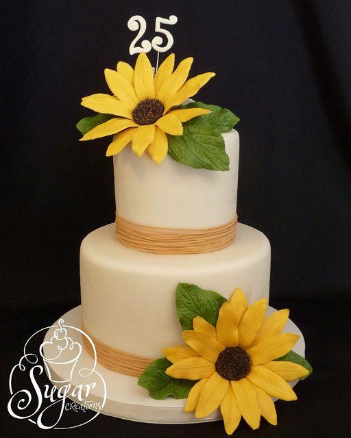 sunflower 25th anniversary cake | 25th anniversary cakes, 25th ...
