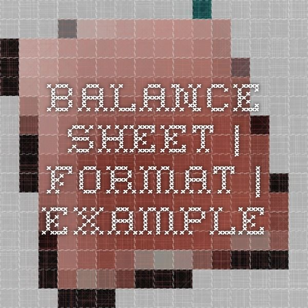 Balance Sheet Format Example Accounting Pinterest Balance - new 6 income statement format